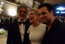 With Sharon Stone and Bocelli